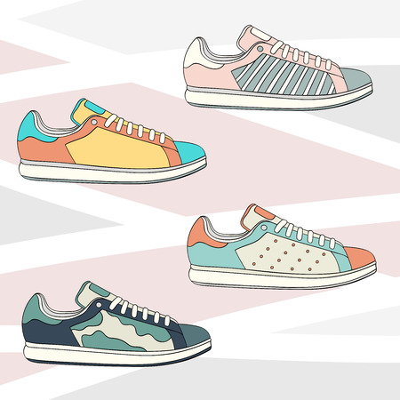 Sport casual sneakers vector set