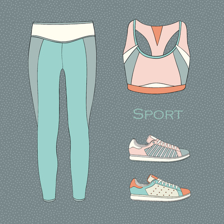 Womens sport fashion clothes set. Vector illustration