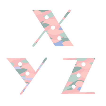 xyz: Set of alphabet letters with pastel abstract pattern. X,Y,Z. Vector illustration Illustration