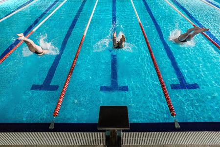 수영장으로 다이빙하는 3 명의 남성 수영 선수의 후면보기