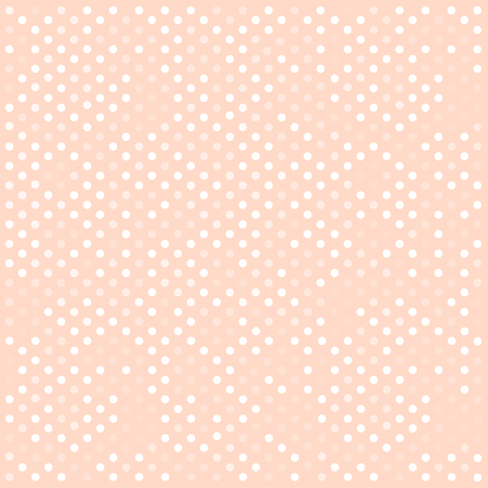 Seamless white polka dots pattern over pink. Vector illustration