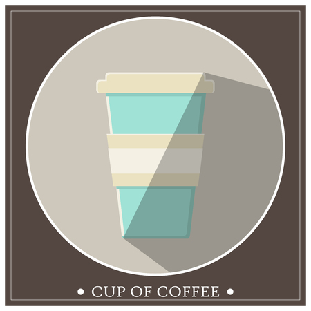 Cup of takeaway coffee in a frame. Vector illustration