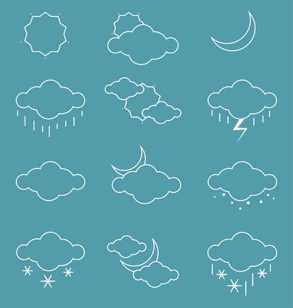 날씨 아이콘은 파란색 배경 위에 설정합니다. 벡터 일러스트 레이 션