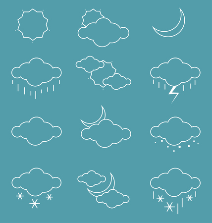 Weather icons set over blue background. Vector illustration