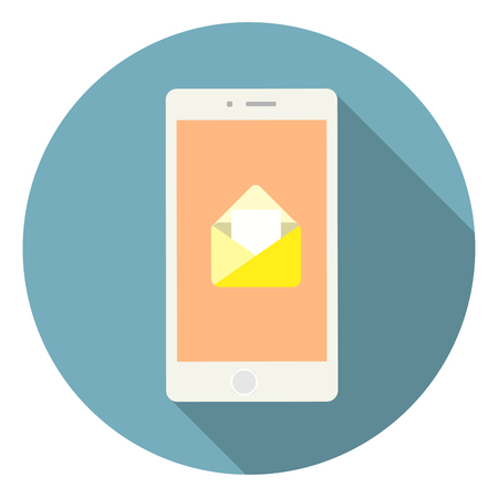 Colorful mobile phone vector with email icon. Vector illustration