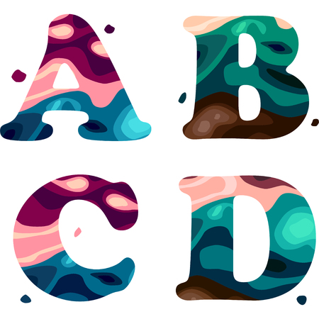 Set of a colorful patterned A,B,C,D letters alphabet. Vector illustration