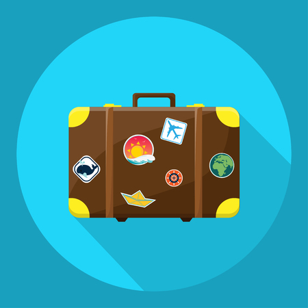 Travel suitcase icon on a blue circle. Vector illustration