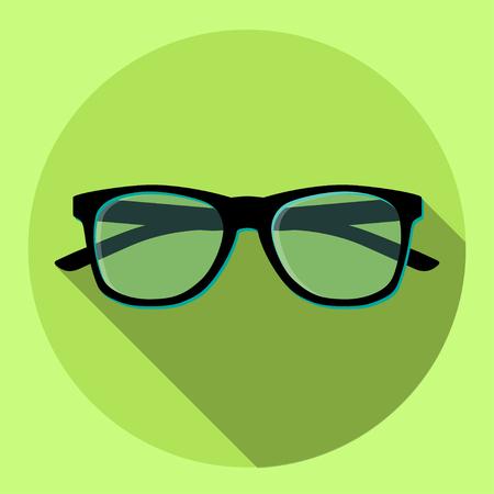 Black eyeglasses on a green circle icon. Vector illustration