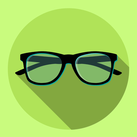 Black eyeglasses on a green circle icon. Vector illustration