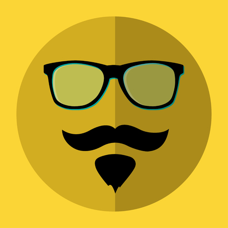 Eyeglasses and a beard icon. Vector illustration