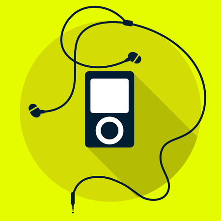 Mp3 player with earphones icon. Vector illustration