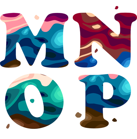 Set of a colorful patterned M,N,O,P letters alphabet. Vector illustration Ilustração