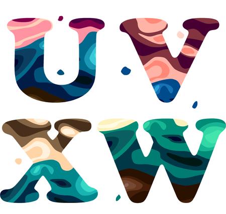 Set of a colorful patterned U,V,W,X letters alphabet. Vector illustration