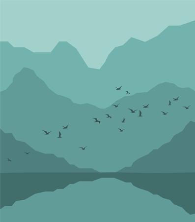 飛ぶ鳥、山と川のある風景の森林.ベクトル図
