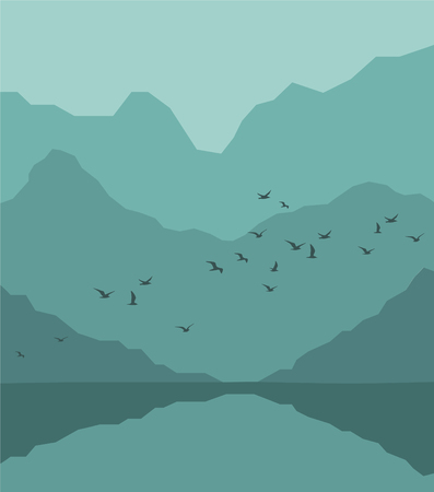 Forest landscape with flying birds, mountains and river. Vector illustration