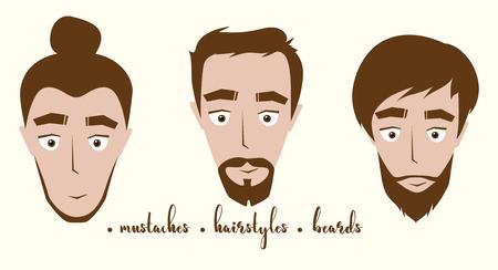 Homme avec des variations de barbe et de coiffures. Illustration vectorielle Banque d'images - 81502437