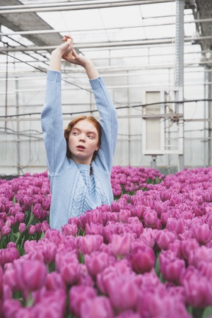 Cool redhead girl raised her hands upon field of tulips in greenhouse Stock Photo