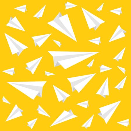Ppaper vliegtuigpatroon op een gele achtergrond. Vector illustratie Stock Illustratie