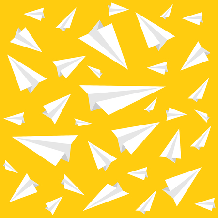 Ppaper plane pattern on a yellow background. Vector illustration
