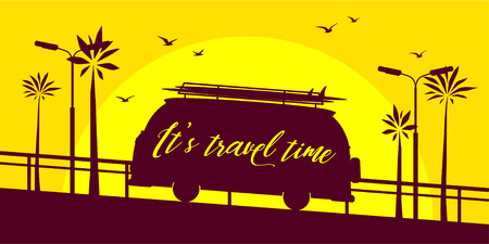 Mini bus silhouette with lettering on a sunset. Its time to travel concept. Vector illustration Illustration