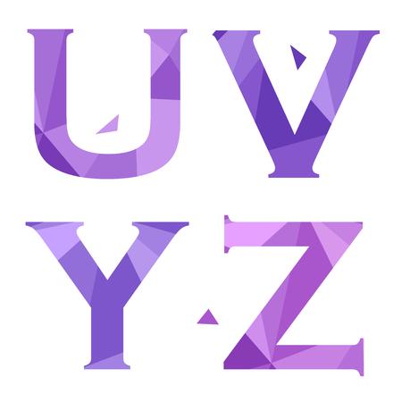 Geometric shapes font alphabet. U,V,Y,Z. Vector illustration Illustration