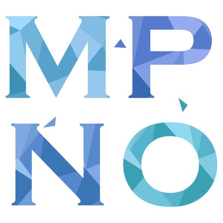 Geometrische vormen lettertype alfabet. M, N, O, P. Vector illustratie