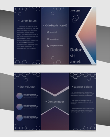 Professional business three fold flyer template, corporate brochure or cover design Ilustrace