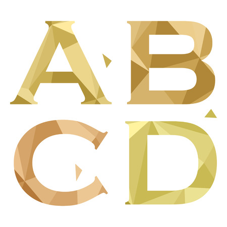 Geometric shapes font alphabet. A,B,C,D. Vector illustration Illustration