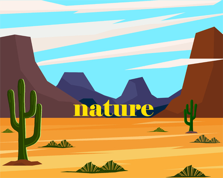 Savannah landscape with lettering. Nature inscription. Simple vector illustration 向量圖像