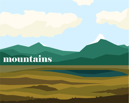 Mountains silhouette landscape with MOUNTAINS lettering. Simple vector illustration