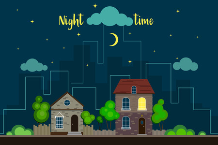 Suburban landscape at night time with skyscrapers on the background. Vector illustration