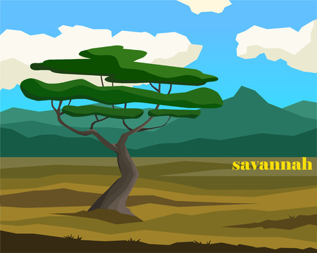 Savannah landscape with lettering. Simple vector illustration