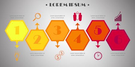 図、グラフ、プレゼンテーション、グラフのテンプレートです。6 のオプション、部品、ステップやプロセスのビジネス コンセプトです。抽象的な  イラスト・ベクター素材
