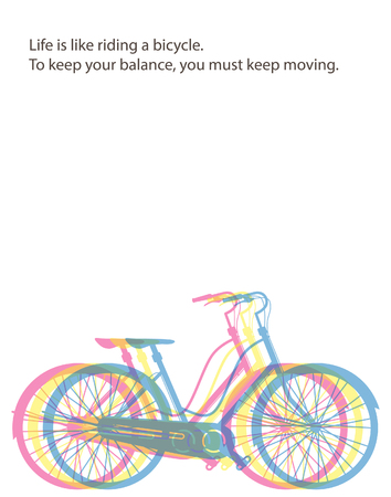 Life is like riding a bicycle to keep your balance you must keep moving. Poster with retro road bicycle on background and vintage lettering Reklamní fotografie