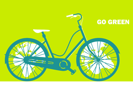 Go green concept. Eco cityscape in bicycle stock. Vector illustration