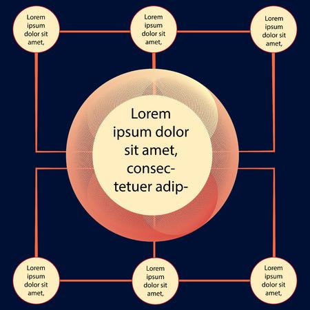 중앙 요소가있는 원형 원형 Infographic. 차트, 다이어그램, 구성표, 6 단계, 옵션, 부품, 프로세스 그래프 벡터 디자인 요소 일러스트