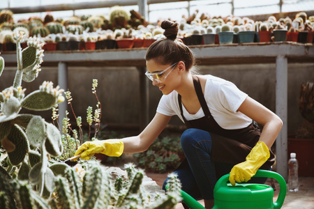 Picture of happy young lady in glasses standing in greenhouse near plants with hand-pouring pot. Looking aside.