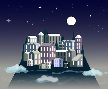 Little paper design town floating in the night sky with moon, clouds and stars Illustration