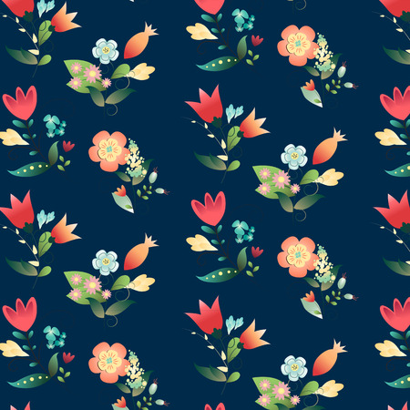 Seamless beautiful floral pattern design on a dark blue background. Vector illustration