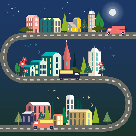 Three trucks on a road connecting three cities on a moonlit night. Vector illustration