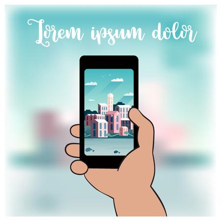 Hand die mobiele telefoon houdt en beeld van cityscape neemt. Vrije ruimte voor tekst. Vector illustratie Stock Illustratie