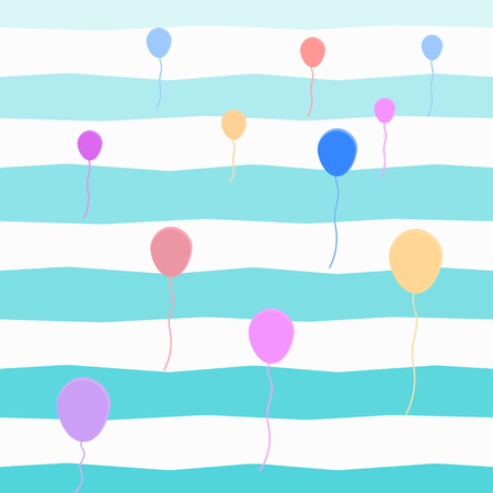 Seamless colorful balloon pattern over blue striped background. Vector illustration