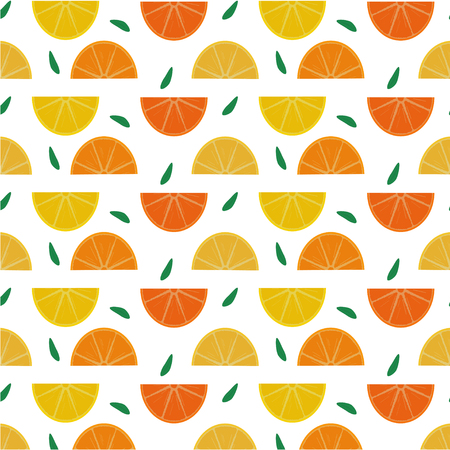Seamless pattern of sliced lemons, oranges and grapefruits with green leaves. Vector illustration