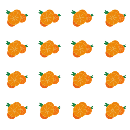 Seamless pattern with sliced oranges over white background. Vector illustration