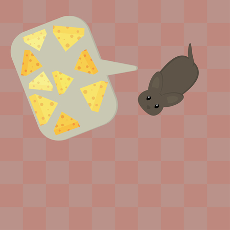 Cute little hand drawn mouse dreaming about cheese. Speach bubble with cheese. Vector illustration