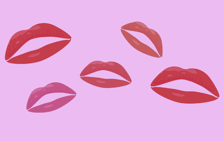 Seamless pattern with lips print over pink. Vector illustration