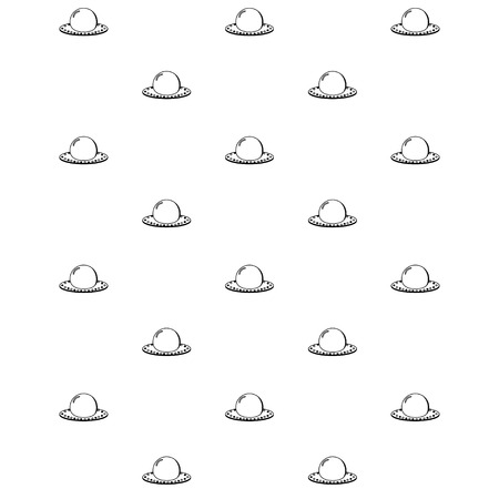 Simple seamless transparent ufo spaceships pattern over white. Vector illustration Illustration