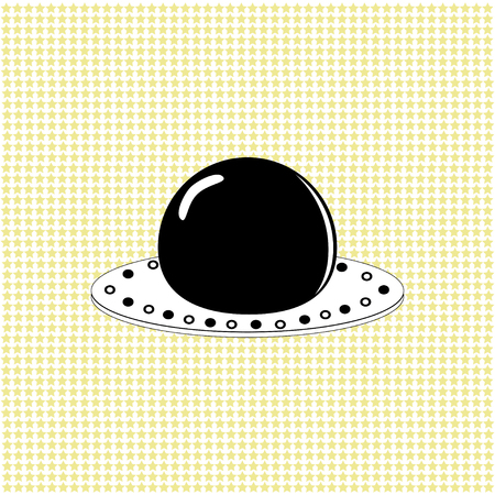 Alien spaceship UFO over abstract background. Vector illustration