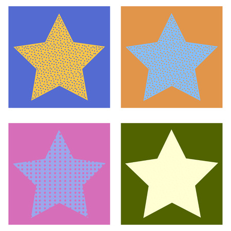 Set of seamless striped stars in square frames over colorful background. Vector illustration