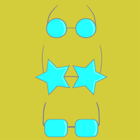 Set of blue hand drawn cartoon sunglasses over yellow backround. Vector illustration